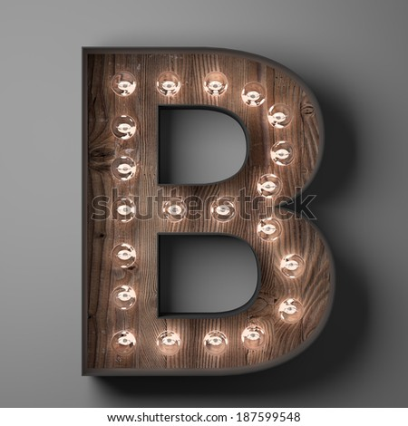 Letter B for sign with light bulbs - stock photo