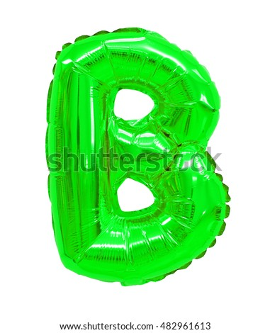 letter b from a balloon green. One letter of the English alphabet
