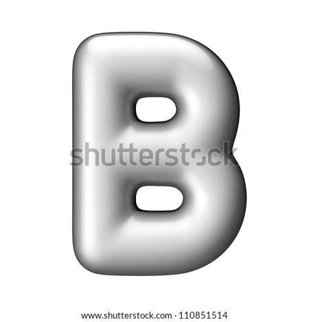 Letter B from aluminium round alphabet. There is a clipping path - stock photo