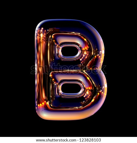 Letter B from chrome night city alphabet isolated on black