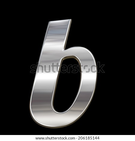 Letter b from chrome solid alphabet isolated on black, lowercase.  - stock photo