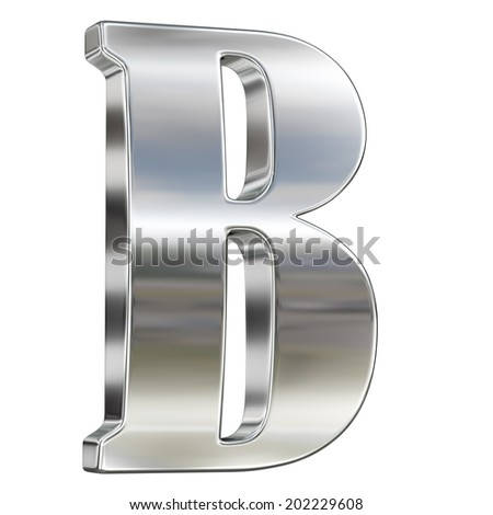 Letter B from chrome solid alphabet isolated on white - stock photo