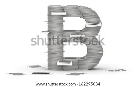 Letter B, from stacks of paper pages font - stock photo
