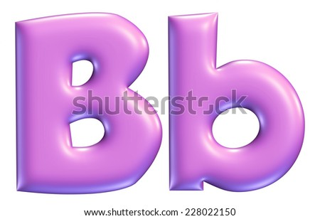 Letter B from Violet solid alphabet on isolated white - stock photo