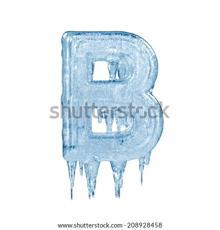 Letter B. Ice font isolated on white background. Alphabet. - stock photo