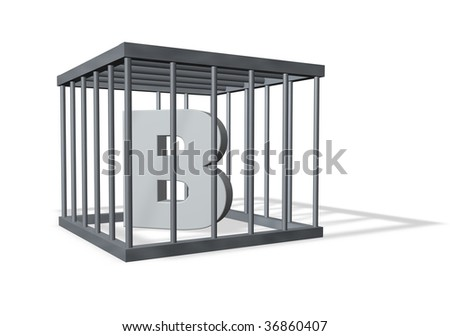 letter b in a cage on white background - 3d illustration - stock photo