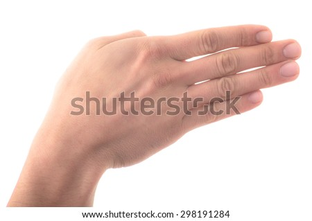 Letter 'B' in sign language, hand on a white background