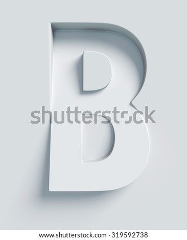 Letter B slanted 3d font engraved and extruded from the surface