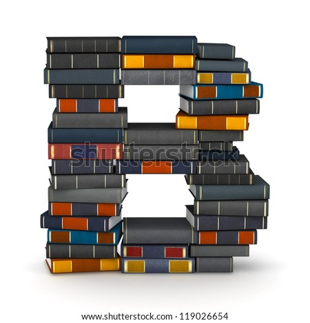 Letter B, stacked from many encyclopedia books in pile - stock photo