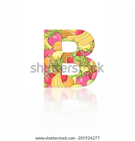 Letter B with fruit effect over white background