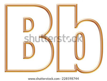 Letter B with golden glossy outline on isolated white.