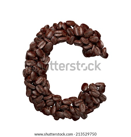 Letter C. Alphabet from coffee beans isolated on white. - stock photo