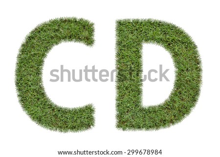 Letter C,D of  green grass isolated on white