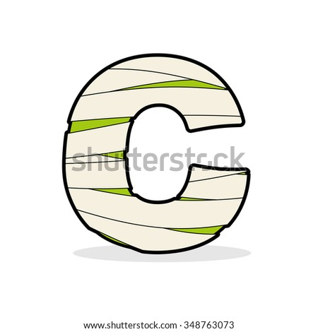 Letter C Egyptian Zombies Abc Sign Stock Illustration