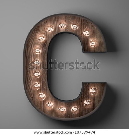 Letter C for sign with light bulbs - stock photo