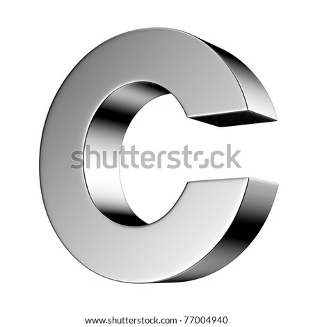 Letter C from chrome solid alphabet. There is a clipping path - stock photo