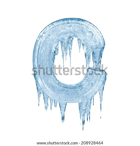 Letter C. Ice font isolated on white background. Alphabet. - stock photo