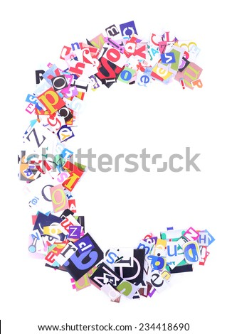 Letter C made of colorful newspaper letters isolated on white - stock photo