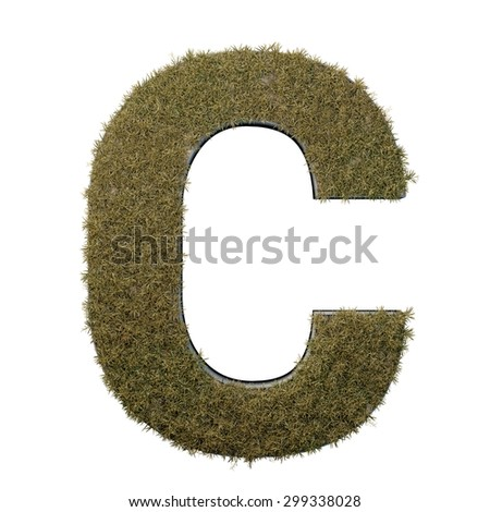 Letter C made of dead grass, growing on wood with metal frame - stock photo