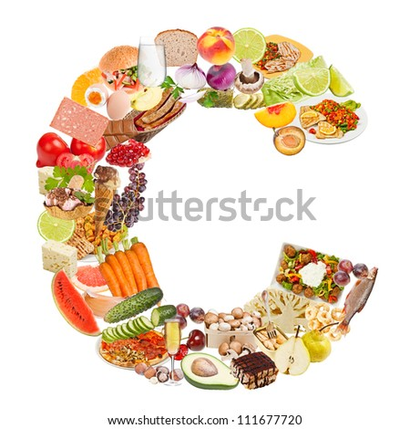 Letter C made of food isolated on white background - stock photo