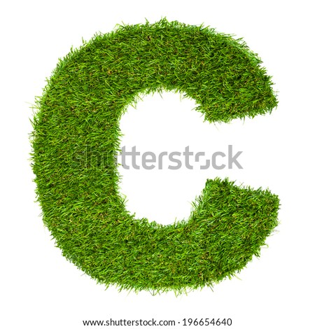Letter C made of green grass isolated on white - stock photo