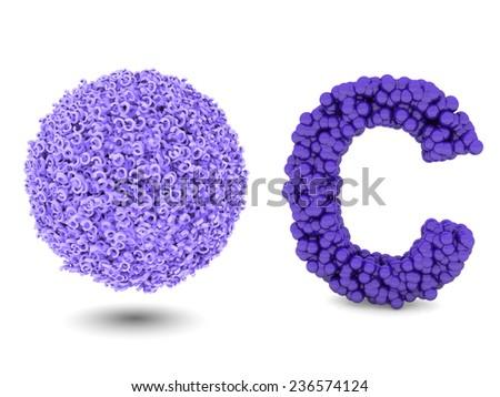letter c make of spheres - stock photo