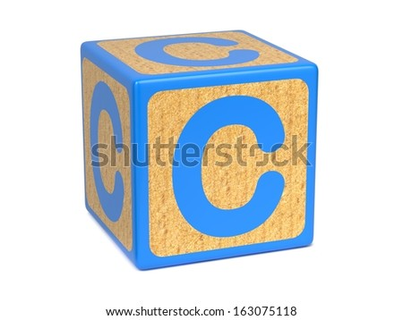 Letter C on Blue Wooden Childrens Alphabet Block  Isolated on White. Educational Concept. - stock photo