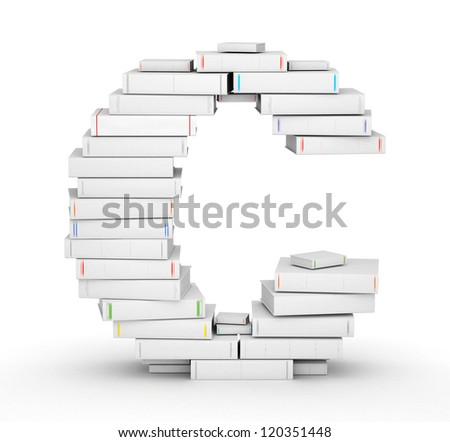 Letter C, stacked from many blank title books in column - stock photo
