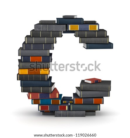 Letter C, stacked from many encyclopedia books in pile - stock photo