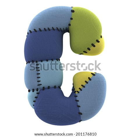 Letter C. Textile toy font  isolated on White Background. - stock photo
