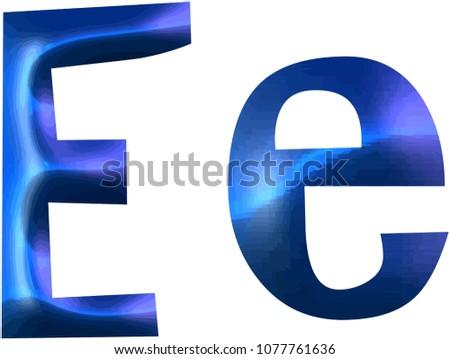 Letter Capital Minor Letter E Blue Stock Illustration 1077761636
