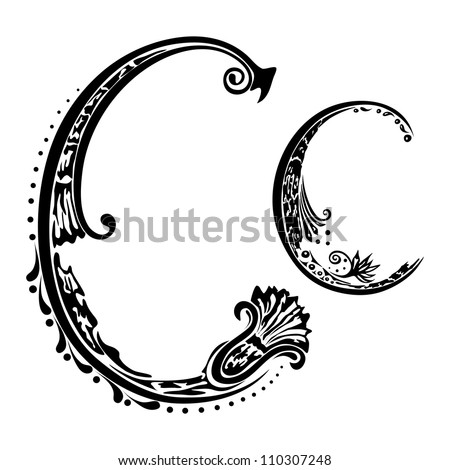 Letter Cc in the style of abstract floral pattern on a white background - stock photo