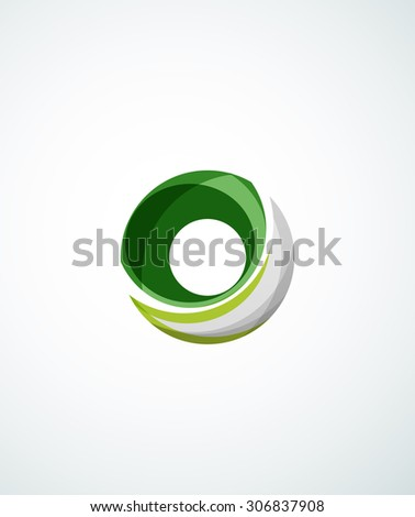 Letter company logo design. Clean modern abstract concept made of overlapping flowing wave shapes - stock photo