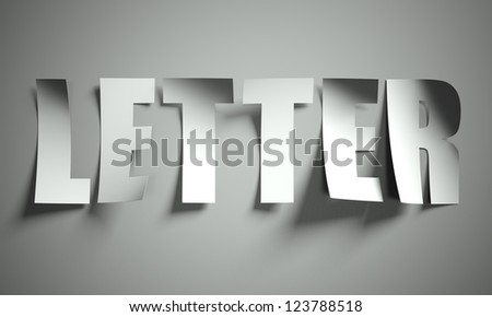 Letter cut from paper, background