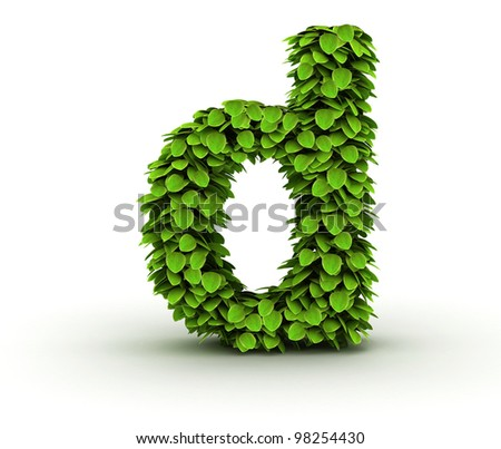 Letter  d, alphabet of green leaves, small caps - stock photo