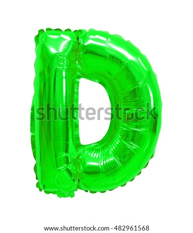 letter d from a balloon green. One letter of the English alphabet