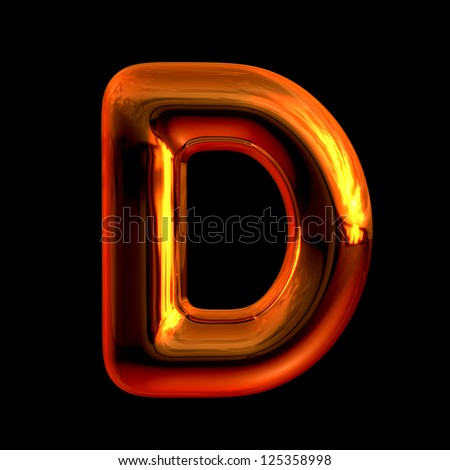 Letter D from chrome orange sunset alphabet. There is a clipping path - stock photo