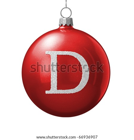 Letter D from cristmas ball alphabet. There is a clipping path - stock photo