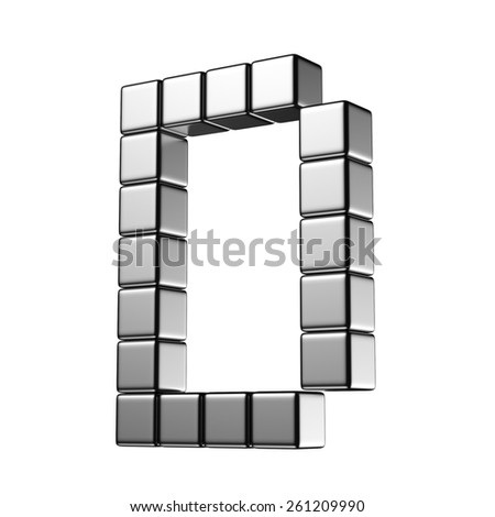 Letter D from digital cube middle perspective alphabet. There is a clipping path - stock photo