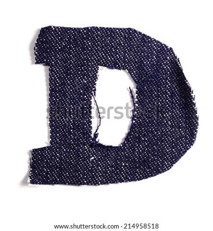 Letter D. Jeans alphabet Isolated on White. Handmade font. - stock photo