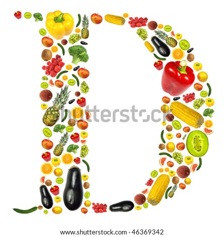 """Letter """"D"""" made of fruit and vegetable - stock photo"""