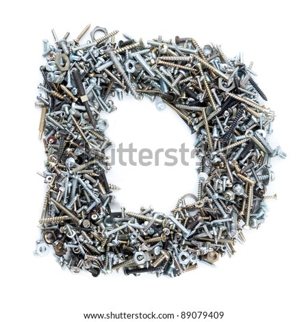 Letter 'D' made of screws isolated in white background - stock photo