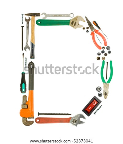 Letter 'D' made of tools isolated on white - stock photo