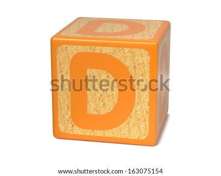 Letter D on Orange Wooden Childrens Alphabet Block  Isolated on White. Educational Concept. - stock photo