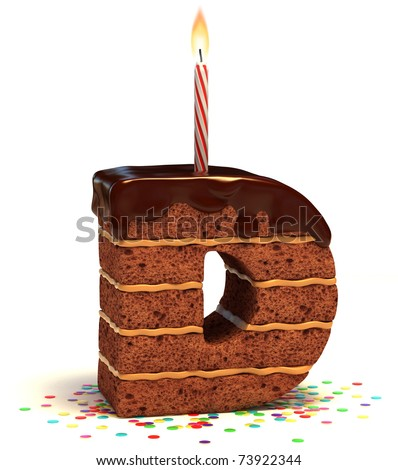 "letter ""D"" shaped chocolate birthday cake with lit candle and confetti isolated over white background"