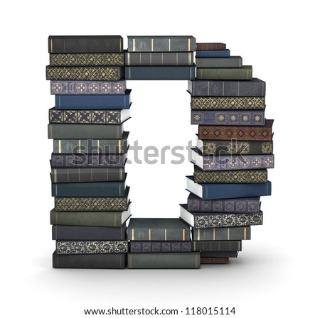 Letter D, stacked from many  books in pile - stock photo