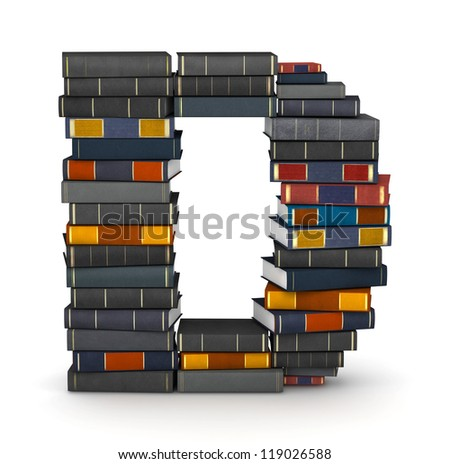 Letter D, stacked from many encyclopedia books in pile - stock photo