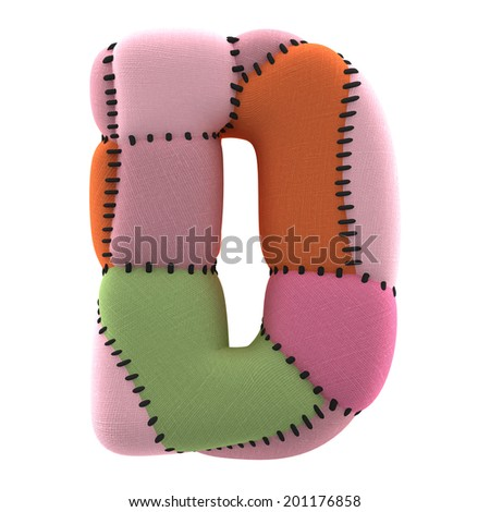 Letter D. Textile toy font  isolated on White Background. - stock photo