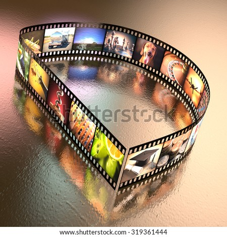 Letter D written with a photographic film strip. Clipping path included. - stock photo