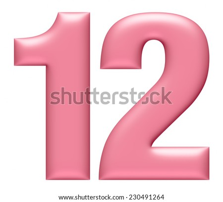 Letter digit 1 & 2 isolated on white background  - stock photo